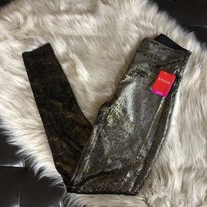 27d4981be SPANX Pants - Spanx Velvet Shine Gold Black Leggings Small NWT